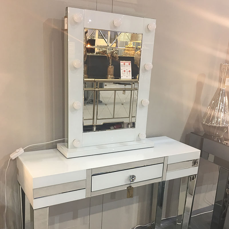 Madison White Vanity Mirrored Mirror With 9 Dimmable Led