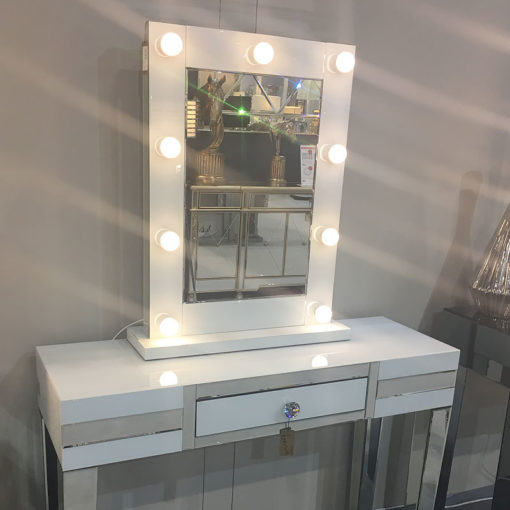 Madison White Vanity Mirrored Mirror With 9 Dimmable LED Light Bulbs