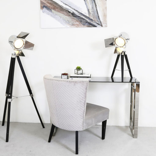 Plaza Contemporary Stainless Steel Smoked Glass Console Display Table