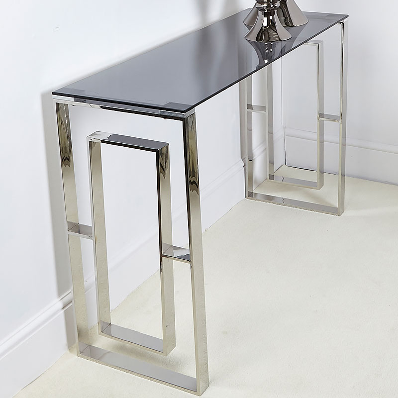 Plaza Contemporary Stainless Steel Smoked Glass Console Display Table Picture Perfect Home - Display Sofa Table