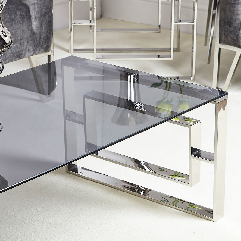 Contemporary Glass Coffee Tables Uk: Plaza Contemporary Stainless Steel Smoked Glass Lounge