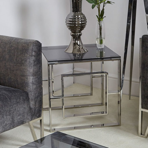 Plaza Contemporary Stainless Steel Smoked Glass Side End Display Table