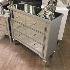 Set of Georgia Silver Mirrored Chest of Drawers and 2 Bedside Cabinets