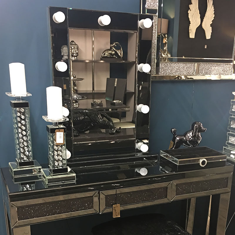 Smoked Glass Dressing Table Mirror With 9 Dimmable Led