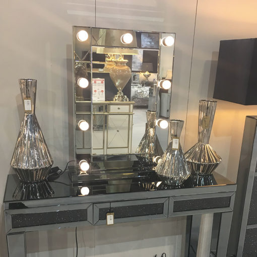 Smoked Glass Dressing Table Mirror With 9 Dimmable LED Light Bulbs