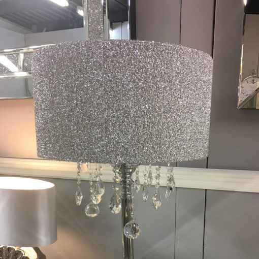 Sparkly Silver Mirrored Crystal Glass Droplets Glitter Floor Lamp