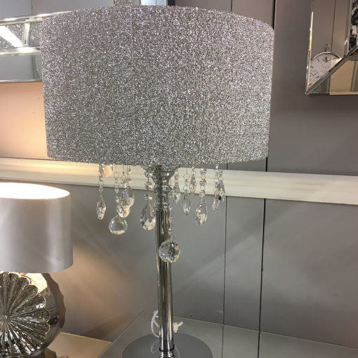 Sparkly Silver Mirrored Crystal Glass Droplets Glitter Table Lamp