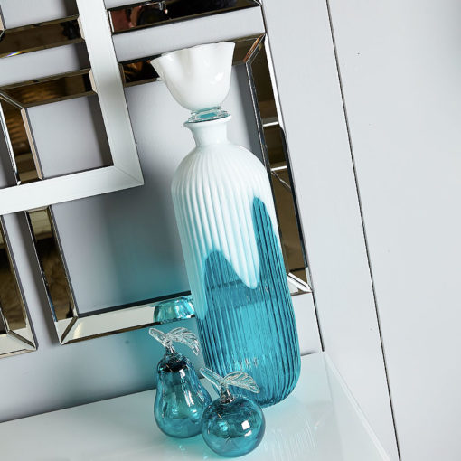 Aqua And White Decorative Glass Bottle With Lid 54.5cm Home Decoration