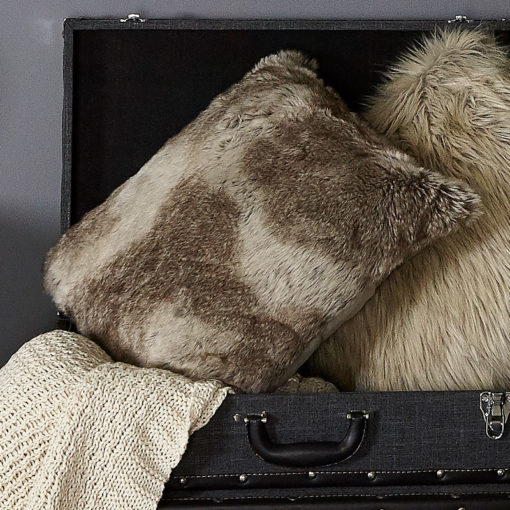 Brown and Grey Coloured Timber Wolf Faux Fur Cushion