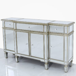 Canterbury Champagne Gold Mirrored 3 Drawer 4 Door Cabinet Sideboard