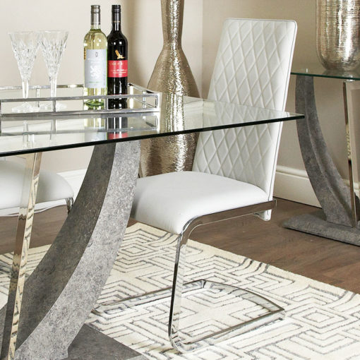 Caspian Light Grey Chrome And Faux Leather Dining or Kitchen Chair