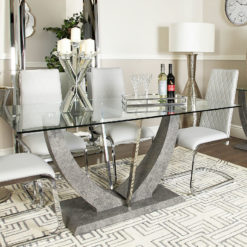 Caspian Toughened Clear Glass and Chrome Grey Dining Room Kitchen Table
