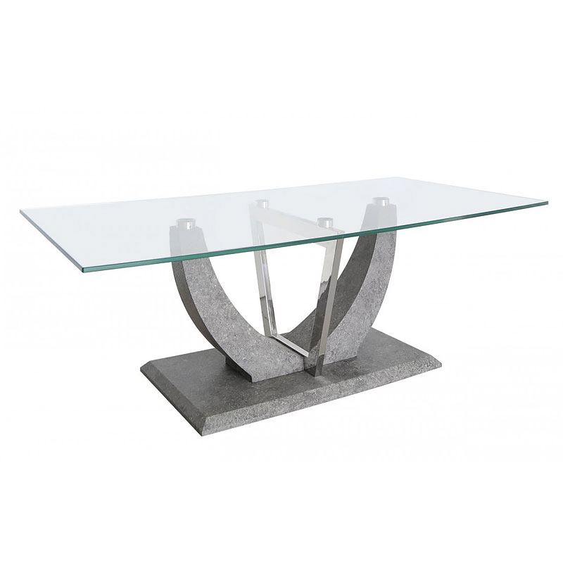 Caspian Toughened Glass Chrome And Stone Effect V Shaped Coffee Table Picture Perfect Home
