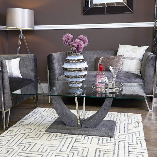 Caspian Toughened Glass Chrome And Stone Effect V Shaped Coffee Table