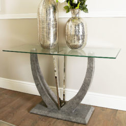 Caspian Toughened Glass Chrome & Stone Effect V Shaped Console Table