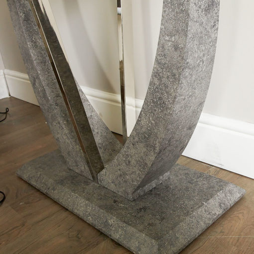 Caspian Toughened Glass Chrome and Stone Effect V Shaped Console Table