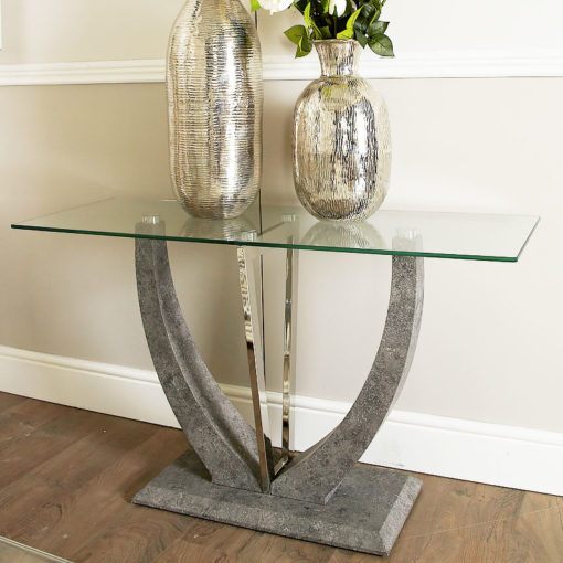 Caspian Toughened Glass Chrome & Stone Effect U Shaped Console Table