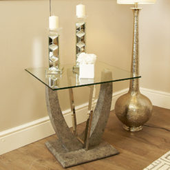 Caspian Toughened Glass Chrome & Stone Effect V Shaped End Side Table