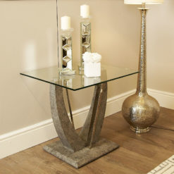 Caspian Toughened Glass Chrome & Stone Effect U Shaped End Side Table