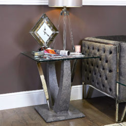 Caspian Toughened Glass Chrome and Stone Effect V Shaped End Side Table