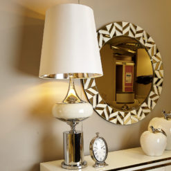Chrome And Mirrored Glass Podium Statement Table Lamp With White Shade