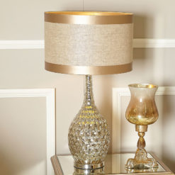 Chrome Glass Dimple Table Lamp With Beige Linen Shade