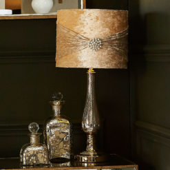 Chrome Glass Glamour Table Lamp With Champagne Shade