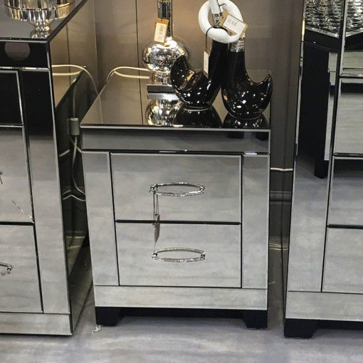 Cosmic Clear Mirror Glass 2 Drawer Bedroom Bedside Chest Cabinet Table