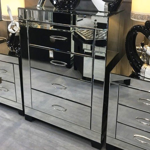 Cosmic Silver Mirrored Glass 4 Drawer Bedroom Cabinet Table Unit Chest