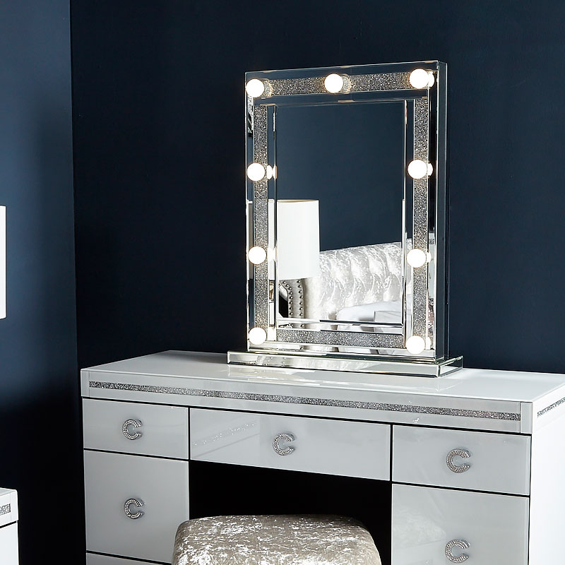 Diamond Glitz Dressing Table Mirror With 9 Dimmable Led
