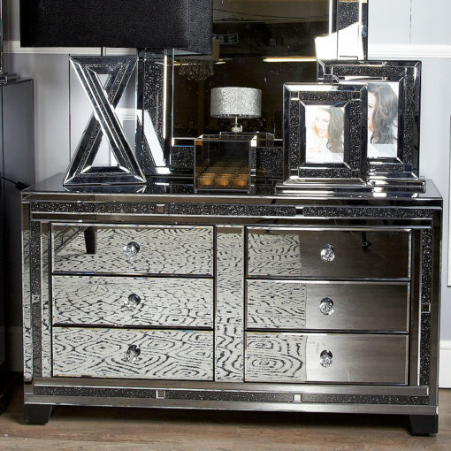 Diamond Glitz Noir Smoked Mirrored 6 Drawer Cabinet Chest Of Drawers