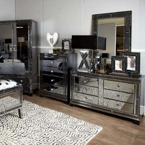 Diamond Glitz Noir Smoked Mirrored 6 Drawer Cabinet Chest Of Drawers