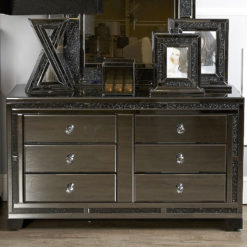 Diamond Glitz Noir Black Mirrored 6 Drawer Cabinet Chest Of Drawers