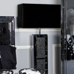 Diamond Glitz Noir Black Mirrored Brick Floor Lamp With 22 Inch Shade