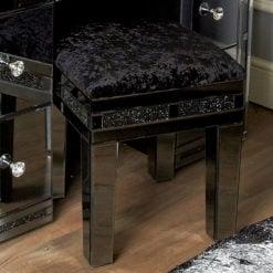 Diamond Glitz Noir Smoked Mirrored Upholstered Dressing Table Stool