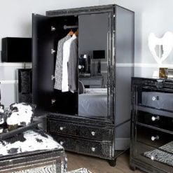 Diamond Glitz Noir Smoked Mirrored 2 Door 4 Drawer Wardrobe