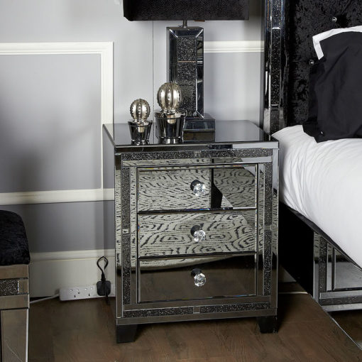Diamond Glitz Noir Smoked Mirrored 3 Drawer Bedside Cabinet