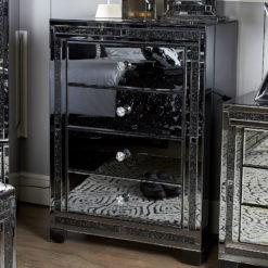 Diamond Glitz Noir Smoked Black Mirrored 4 Drawer Chest Of Drawers