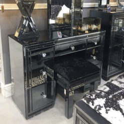 Diamond Glitz Noir Smoked Black Mirrored 7 Drawer Dressing Table