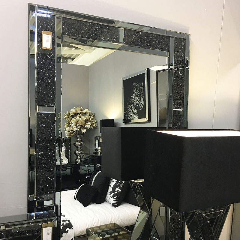 Diamond Glitz Noir Smoked Mirrored Diamond Wall Mirror 120cm