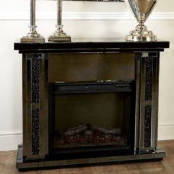 Diamond Glitz Noir Smoked Mirrored Electric Fireplace Surround