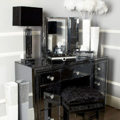 Diamond Glitz Noir Smoked Mirrored Vanity Dressing Table Mirror
