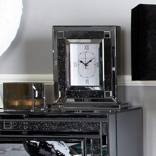 Diamond Glitz Noir Smoked Mirrored Table Clock
