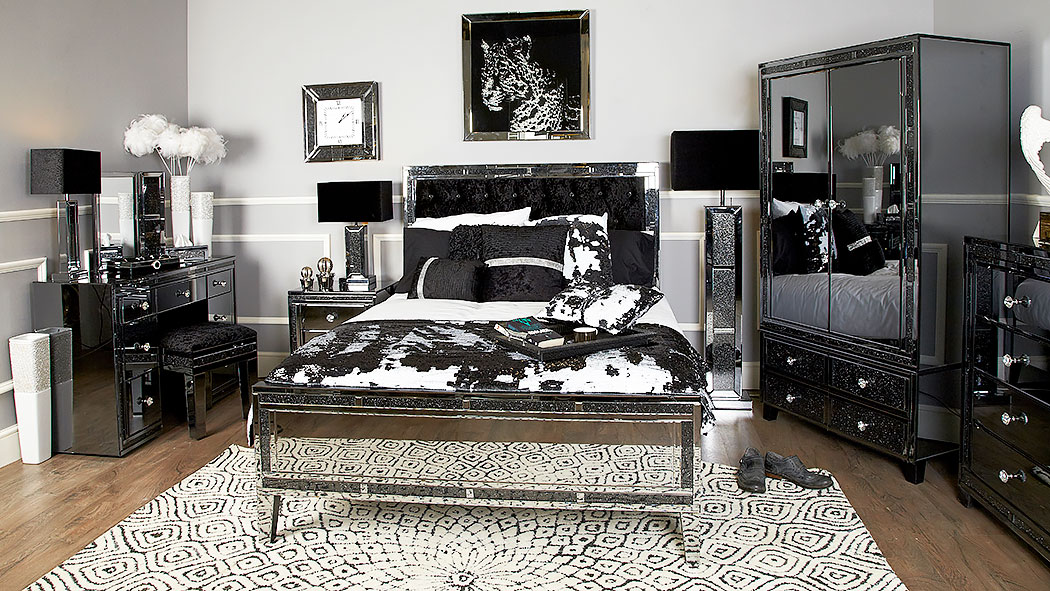 Diamond Glitz Noir Smoked Mirrored King Size Bed Frame