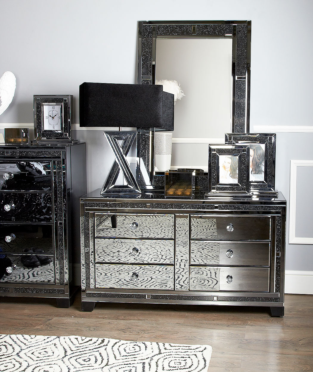 Diamond Glitz Noir Smoked Mirrored 7 Drawer Dressing Table