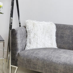 Filled Glittered White Shaggy Cushion 45x45cm