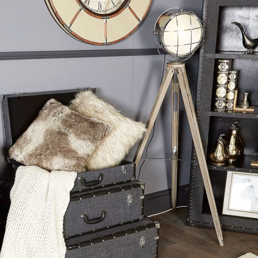 Grey Wooden Hollywood Tripod Lamp With Spot Light