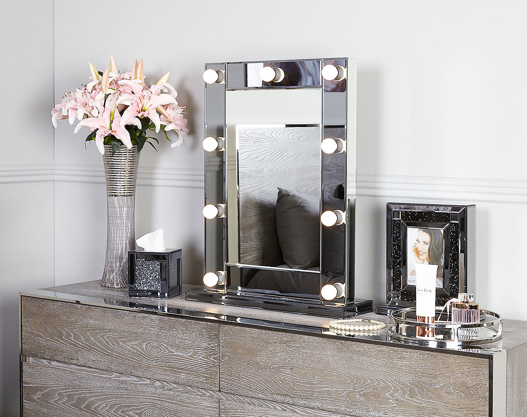 Hollywood Smoked Glass Dressing Table Mirror