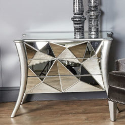 Iceberg Silver Mirror 3 Drawer Cabinet Sideboard Chest Of Drawers