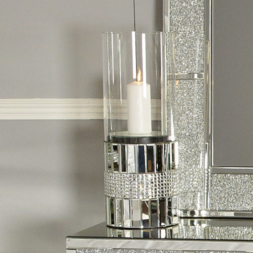 Large Clear Glass Mirror Floor Standing Cylinder Candle Holder